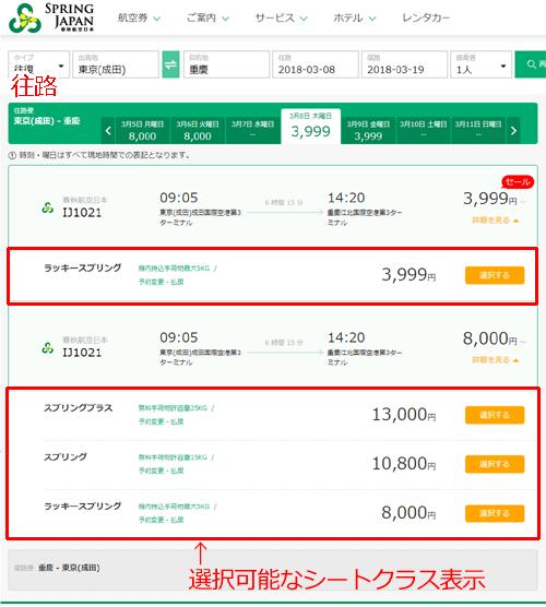 春秋航空 チケット購入フロー